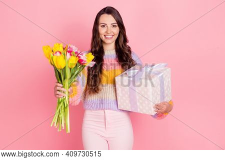 Portrait Of Attractive Glad Cheerful Girl Holding In Hands Giving You Tulips Giftbox Isolated Over P