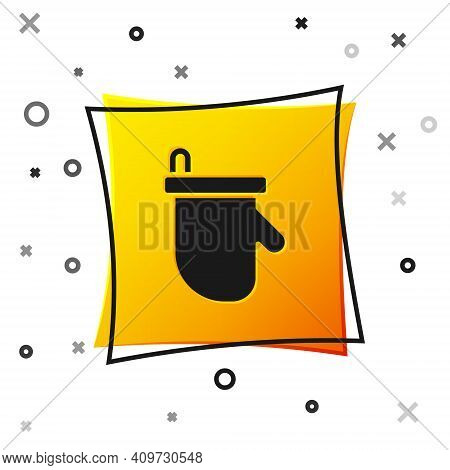 Black Sauna Mittens Icon Isolated On White Background. Mitten For Spa. Yellow Square Button. Vector