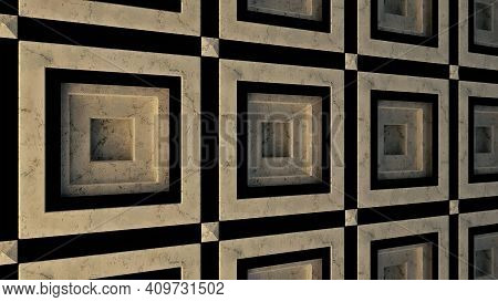 Concept Of Architecture, Abstract Porcelain Stoneware Wall. Animation. Close Up Of Abstract Marble T