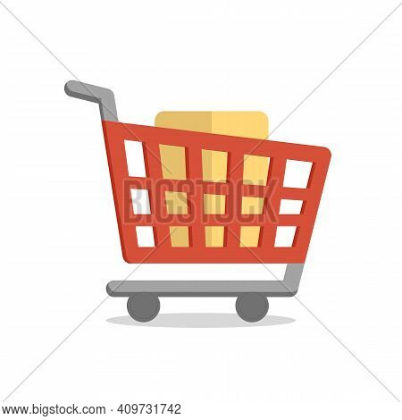 Loaded Supermarket Cart For Online Purchases, Vector