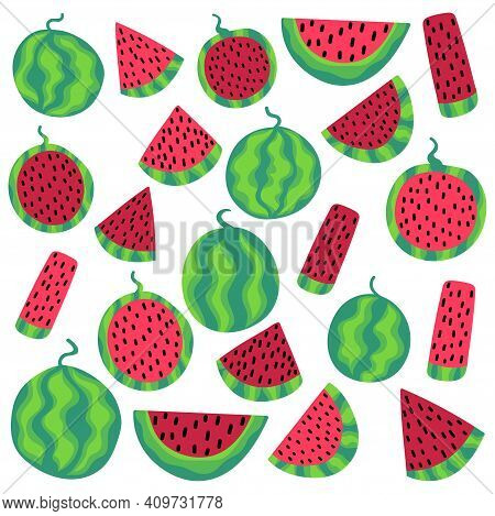 Watermelons Set Isolated On White Stock Vector Illustration. Funny Fruit Slices And Whole. Colorful