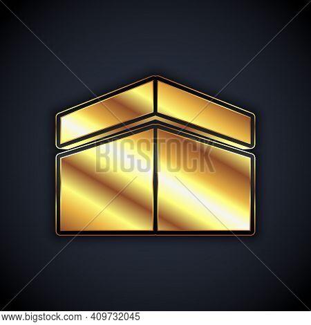 Gold Kaaba Mosque Icon Isolated On Black Background. Kaaba Hajj Mecca Pray Pilgrimage Ramadan Islam