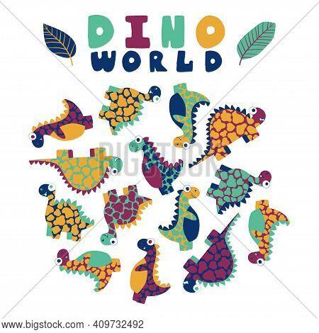 Childish Funny Dino World Set Stock Vector Illustration. Motley Friendly Dinosaurus Print. Cartoon H