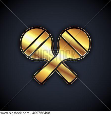 Gold Maracas Icon Isolated On Black Background. Music Maracas Instrument Mexico. Vector