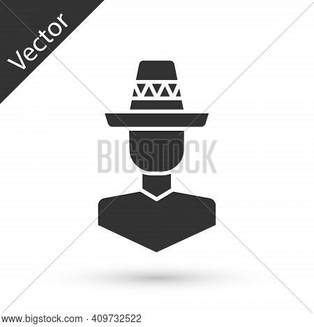 Grey Mexican Man Wearing Sombrero Icon Isolated On White Background. Hispanic Man With A Mustache. V