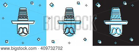 Set Mexican Man Wearing Sombrero Icon Isolated On Blue And White, Black Background. Hispanic Man Wit