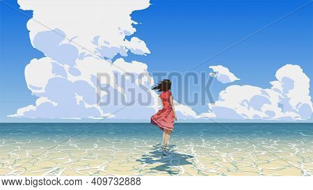 Woman Standing On The Sea Looking At The Summer Sky, Vector Illustration