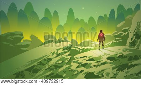 Man In Fantasy Landscape Looking At The Distant Green Mountains, Vector Illustration