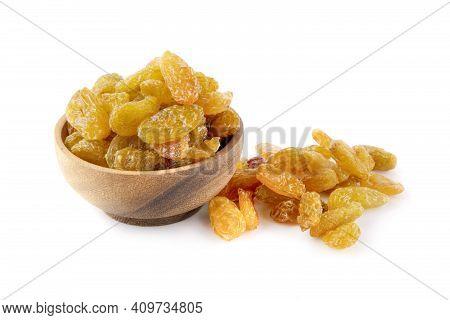 Dried Raisins On White Dried Raisins Isolated