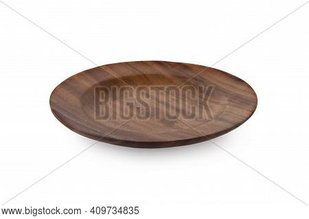Wooden Plate Isolated On White Wooden Plate