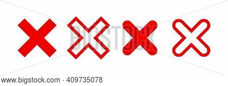 Red Cross Icon. No Sign, Reject Cross Template. Check Mark Icon Vector Isolated. Stock Vector. Eps 1