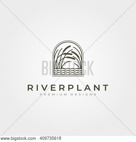 River Plant Reed Icon Logo Vector Symbol Illustration Design, Nature Plant In Square Logo Design