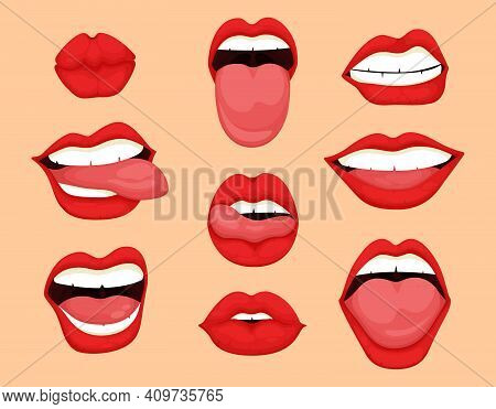 Cartoon Mouth Expressions Set. Cute Mouth Expressions Facial Gestures Lips Sadness Rapture Disappoin