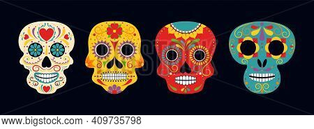 Sugar Skull Day Of The Death Traditional Vector Crafted Decorations. Mexican Traditional Religious H