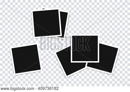 Photo Frame Mockup Collection. Photo Frames Vector Templates With Realistic Shadow. Stock Vector Ele