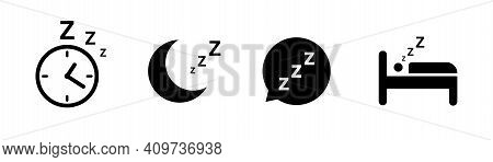 Sleep Icon Collection. Vector Isolated Elements. Flat Concept. Sleep, Rest, Dream Concept. Sleeping