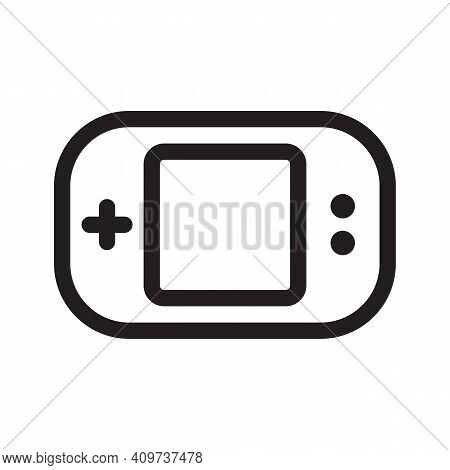 Gaming Handheld Console Outline Icon Isolated On White Background.