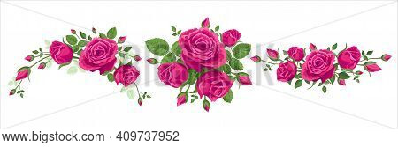 Set Of Bouquet Of Roses. Vector Illustration, 3 Bouquets Of Pink Roses On A White Background With Le