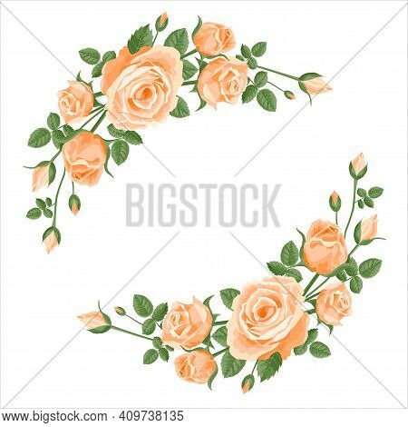 Wreath, Garland Of Roses. Vector Flower Decoration For Anniversary, Cards, Greetings. Valentine's Da