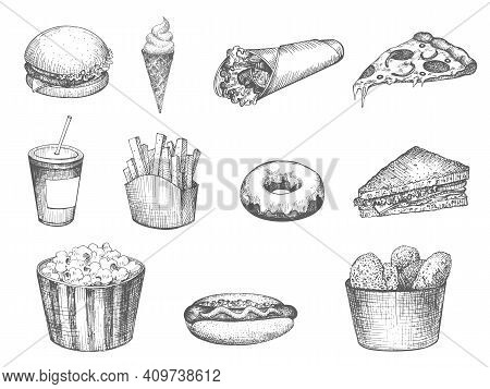 Set Fast Food Hand Drawn Isolated On A White Background. Vector Illustration Vintage Sketch Pizza, I