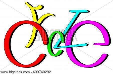 Cycle Text Lettering Bysicle Shape, Multycolor Eps10 Vector Isolated On White Background With Shadow