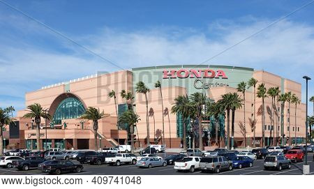 ANAHEIM, CA, FEBRUARY 11, 2015: The Honda Center in Anaheim, California. The arena is home to the Anaheim Ducks of the National Hockey League and the Los Angeles Kiss of the Arena Football League.