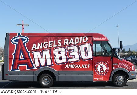 ANAHEIM, CALIFORNIA - FEBRUARY 24, 2017: Angels Radio Van. The van is parked in the Stadium lot with the Big A in the background.