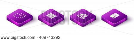 Set Isometric House Plan, Garage, Hanging Sign With Sale And Contract Icon. Vector