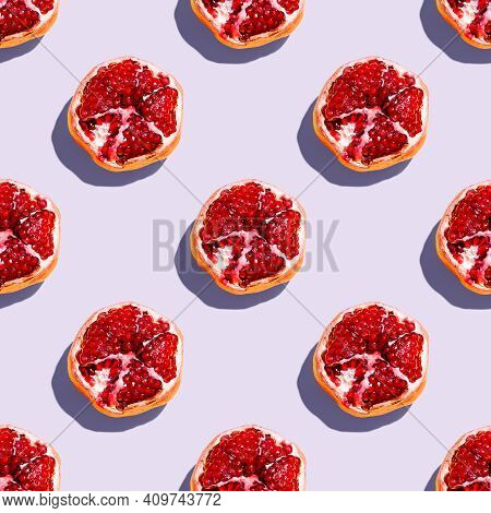 Photography Collage Of Pomegranate On Pastel Purple Lavender Color Background Top View. Isometric Fo