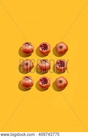 Minimal Nature Pattern With Pomegranate. Summer Fruit Concept