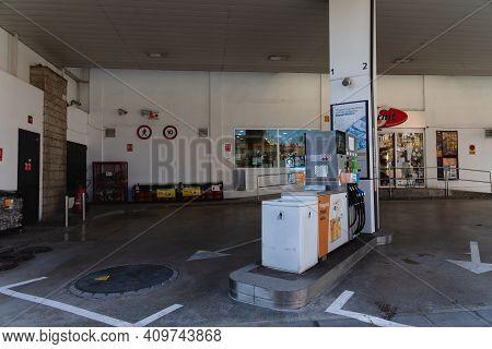 Caldes De Montbui, Spain - 31 January 2021: Gas Station Of A Famous Brand In Spain, Repsol. Gas Pump