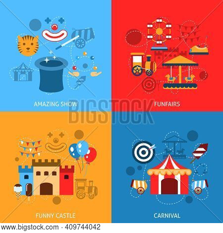 Amusements Park Flat Icons Set With Amazing Show Funfairs Funny Castle Carnival Isolated Vector Illu