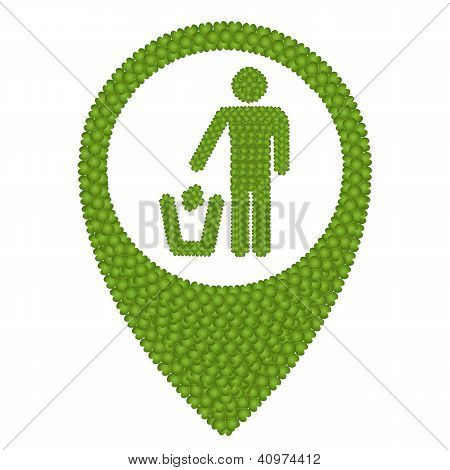 Four Leaf Clover Of Recycling Icon In Navication Icon