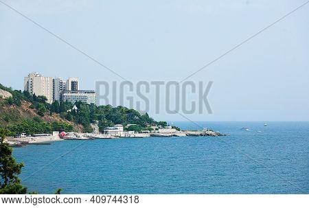 Boat At The Marina. The City Of Yalta. Ukraine. Crimea.
