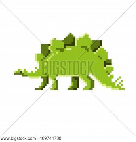 Pixel Dinosaur. Stegosaurus. Simple Flat Vector Illustration On A White Background.