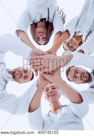 group of diverse medical professionals showing their unity.