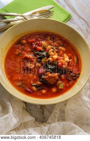 Hearty Italian Minestrone Soup With Cavatappi Pasta Sausage And Vegetables