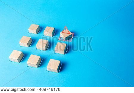 One Of The Blocks Breaks The Formation. Violation Of Order, Malfunction Failure. Deviation From The
