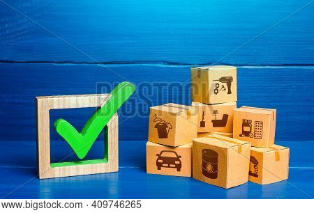 Boxes And Green Check Mark. Free Trade Area And Economic Preferences Agreement. Verification Of Impo