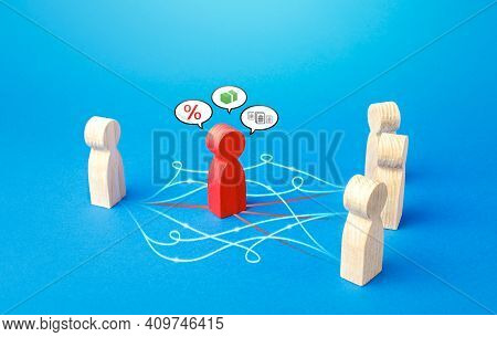 Figures Of People Connected Bypassing The Red Mediator. Direct Contact, Minimizing Costs. Corruption