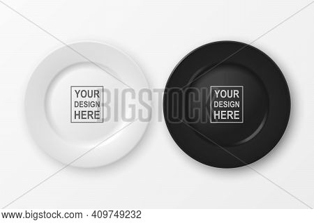 Vector 3d Realistic White And Black Food Empty Blank Porcelain Ceramic Plate Set Closeup Isolated On