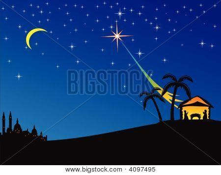 Christmas nativity scene. Vector illustration for your design poster
