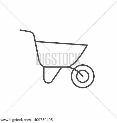 Wheel Barrow Line Outline Icon Isolated On White. Vector Illustration