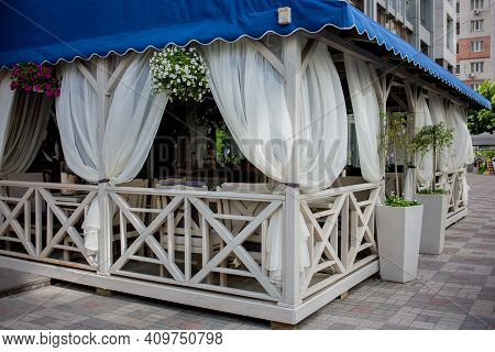The Interior Of The Summer Bar On The Banks Of The Marina. Interior Of A Summer Bar On The Banks Of