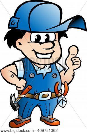 Vector Cartoon Illustration Of An Happy Handyman Giving Thumbs Up