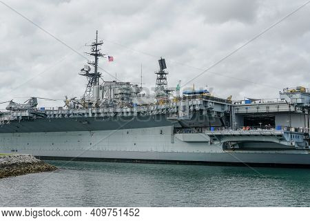 Uss Midway Museum, Historical Naval Aircraft Carrier Museum In Downtown San Diego, California. Aircr