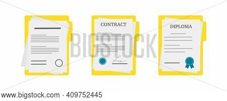 Paper Documents Icons. Contract Or Document Signing Icon.set Of Illustration With Diploma, Contract