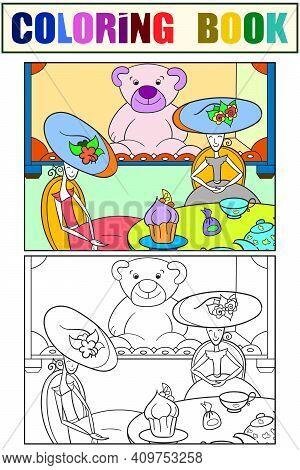 Puppet Tea. Fantastic Children. Set Coloring Book. Vector Illustration.