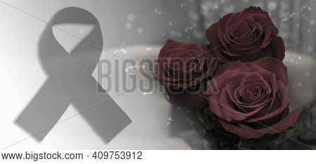 Mourning Black Ribbon And Rose Flowers. A Symbol Of Mourning For The Dead And Died From Diseases And