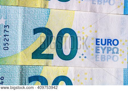 Selective Focus On Detail Of Euro Banknotes. Close Up Macro Detail Of Money Banknotes, 20 Euro Isola